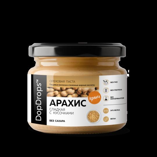 DopDrops Арахисовая паста сладкий Кранч 1000 г с экстрактом монк фрукта