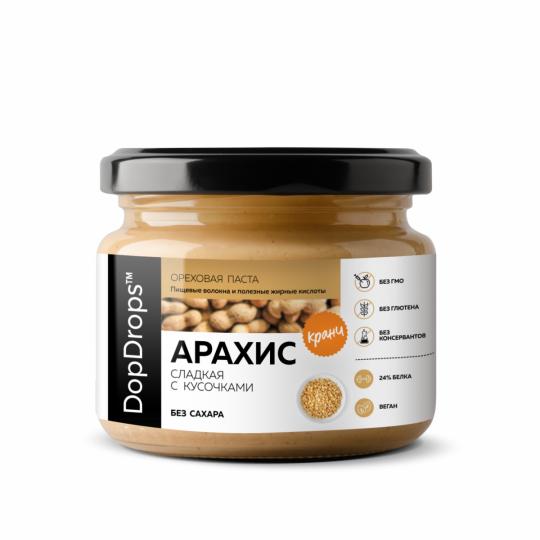 DopDrops Арахисовая паста сладкий Кранч 250 г с экстрактом монк фрукта