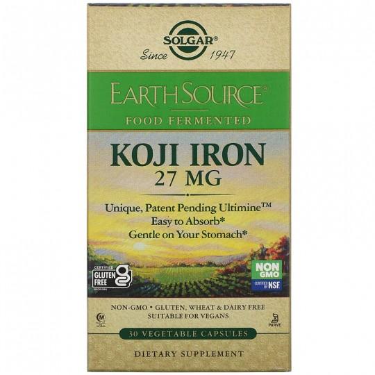 Solgar EarthSource Food Fermented Koji Iron 27 mg 30 Vegetable Capsules