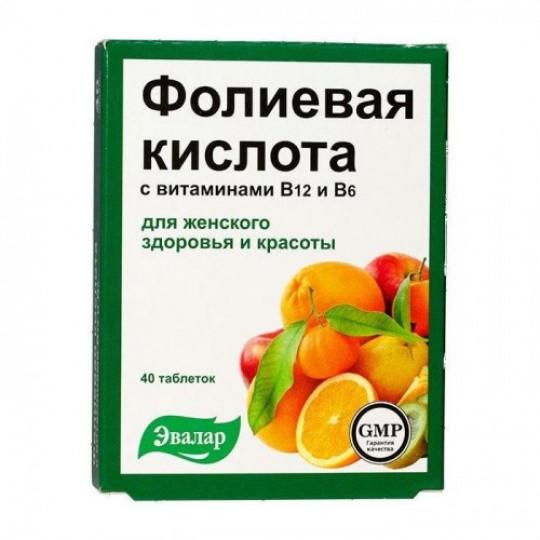 Эвалар Фолиевая кислота с витаминами В12 и В6 40 таб.