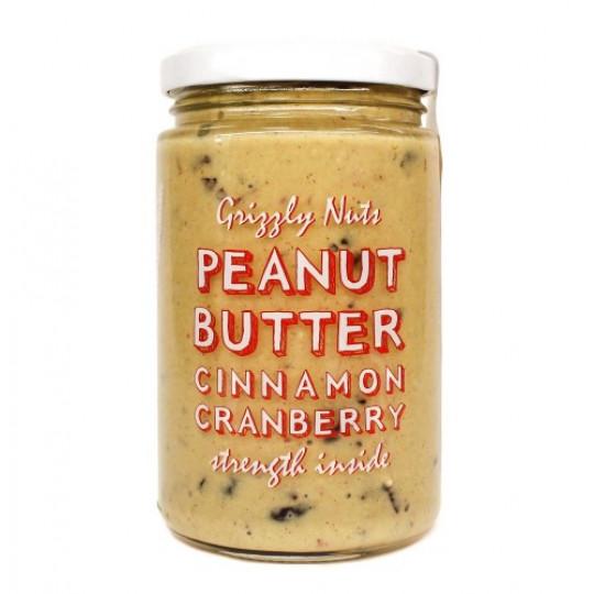 Grizzly Nuts арахисовая паста с вяленой клюквой Cinnamon Cranberry 370 г