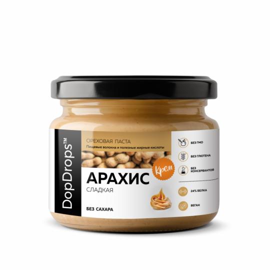 DopDrops Арахисовая паста сладкий Крем 250 г с экстрактом монк фрукта