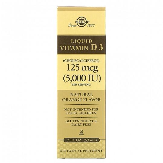 Solgar Жидкий витамин D3 натуральный апельсиновый вкус 125 мкг (5000 МЕ) 59 мл (2 жидких унции)