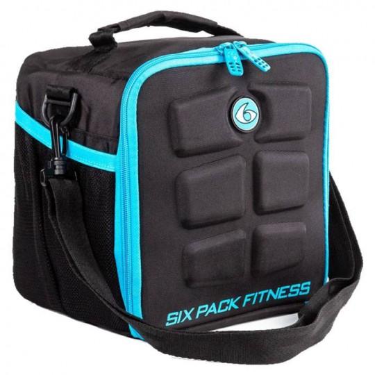 6 pack fitness Cube Black-Blue Сумка-холодильник для еды с контейнерами черный-голубой