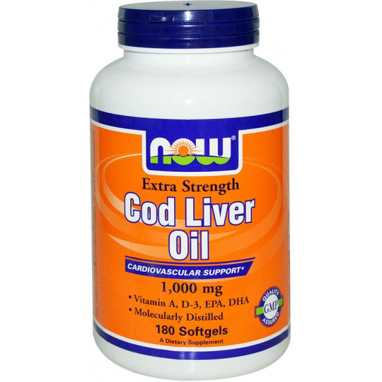 Now Cod Liver Oil 1000 мг 180 гелевых капсул