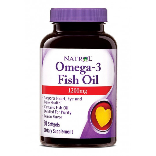Natrol Omega-3 Fish Oil 1200 мг Лимон 60 капсул