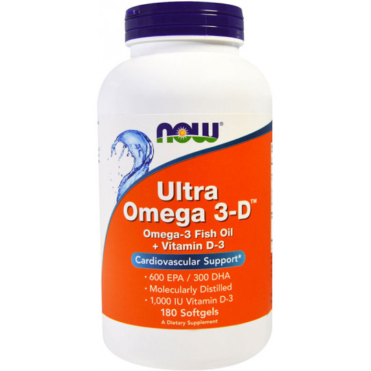 Now Ultra Omega 3-D 600 EPA/300 DHA + Vit D-3 180 гелевых капсул