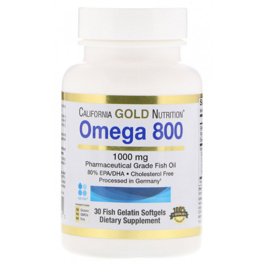 California Gold Nutrition Omega 800 Pharmaceutical Grade Fish Oil 80% EPA/DHA Triglyceride Form 1000 мг Рыбий жир фармацевтического класса, 30 гелевых капсул