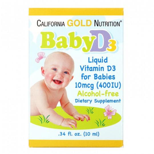 California Gold Nutrition Витамин D3 в каплях для детей 400 МЕ 10 мл.