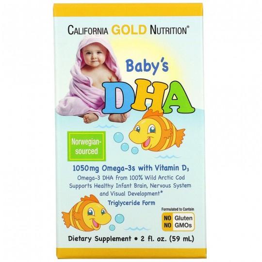 California Gold Nutrition ДГК для детей омега-3 с витамином D3 1050 мг 59 мл