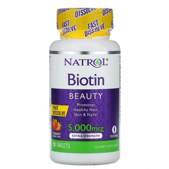 Natrol Biotin Fast Dissolve 5000 mсg 90 таб. со вкусом клубники