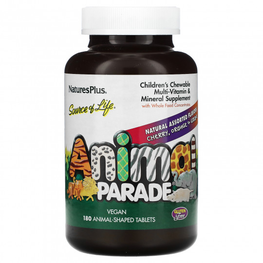 Nature's Plus Animal Parade детские жевательные мультивитамины и минералы 180 таблеток в форме животных