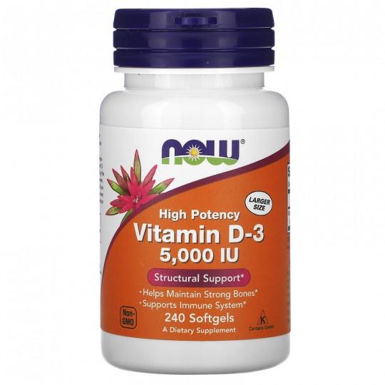 Now foods высокоактивный витамин D-3 5000 ME 240 капс.