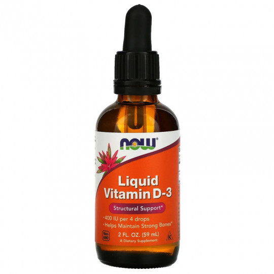 Now foods жидкий витамин D3 400 МЕ 59 мл.